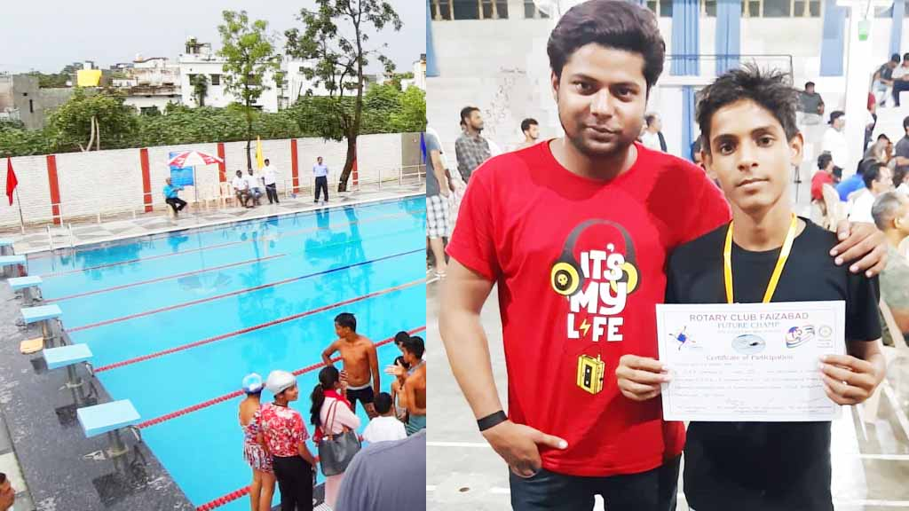 mrd international school student won medal in swimming activity student sumit with coach Sharukh Sharif 2